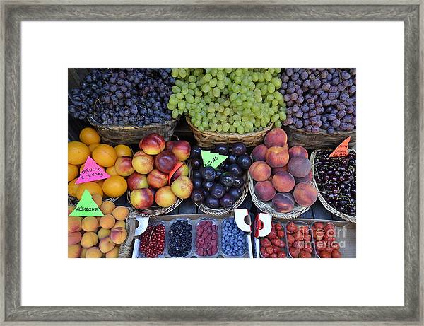 Summer Variety Of Fruits In Italy Framed Print by Sami Sarkis