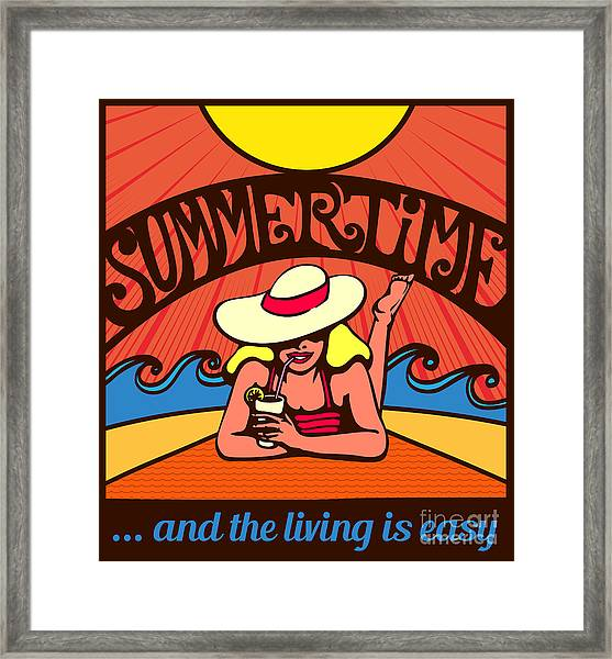 Summertime Blond Relaxed Girl Framed Print