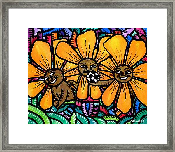Sun Flowers And Friends Playtime 2009 Framed Print