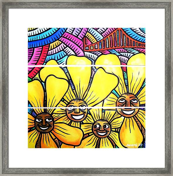 Sun Flowers And Friends Sf 1 Framed Print