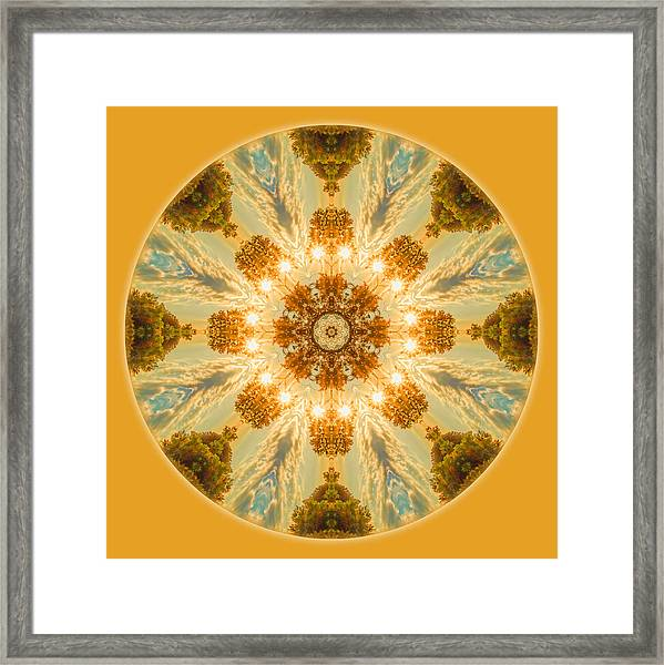 Framed Print featuring the photograph Sun Glow Mandala by Beth Sawickie