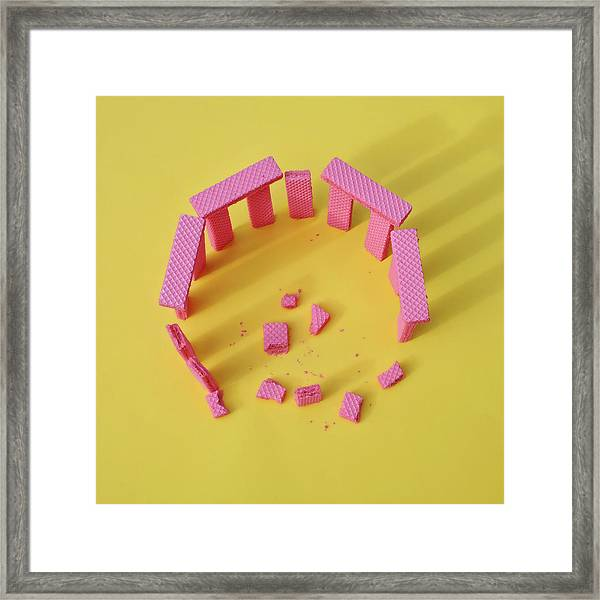 Sun Monument Made From Wafer Cookies Framed Print by Juj Winn