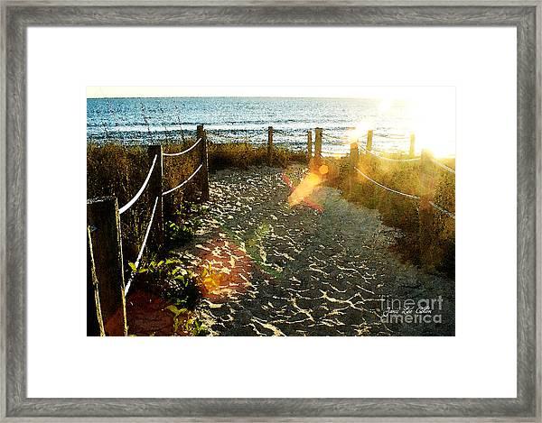 Sun Ray Beach Path Framed Print