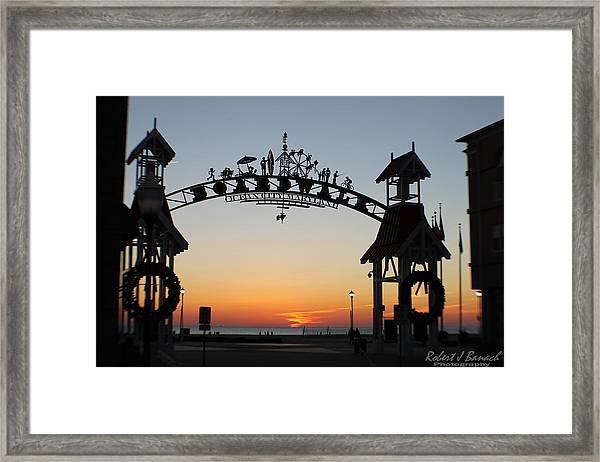 Sun Reflecting On Clouds Ocean City Boardwalk Arch Framed Print
