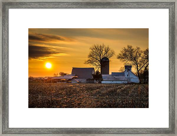 Sun Rise Over The Farm Framed Print