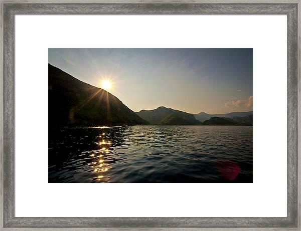 Sun Sparkles On The Mediterranean Sea Framed Print