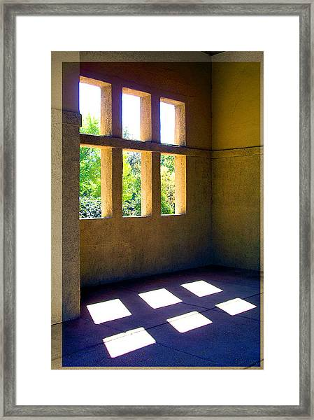Sun Thru Windows Adobe Architecture Framed Print