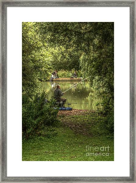 Sunday Fishing At The Lake Framed Print