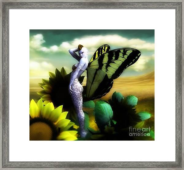 Sunflower Fairy Framed Print by Sandra Bauser Digital Art