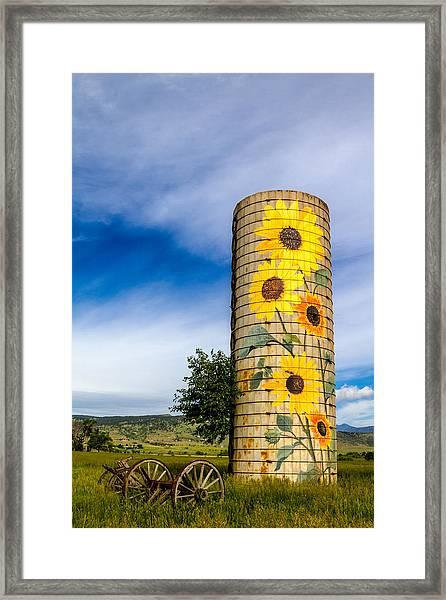 Sunflower Silo Framed Print