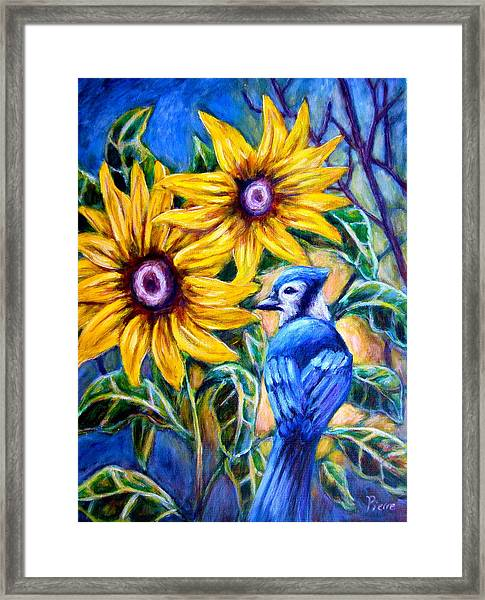 Sunflowers And Blue Jay Framed Print