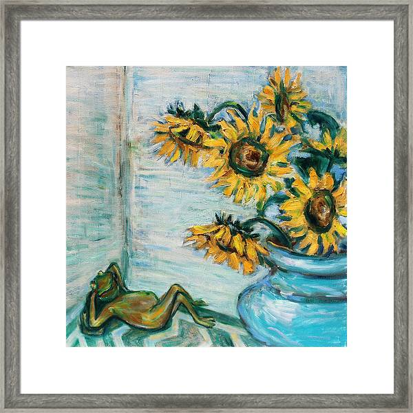 Sunflowers And Frog Framed Print