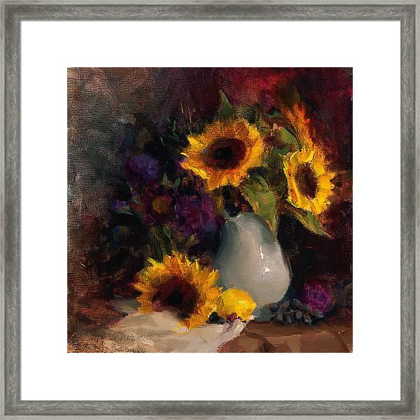Sunflowers And Porcelain Still Life Framed Print