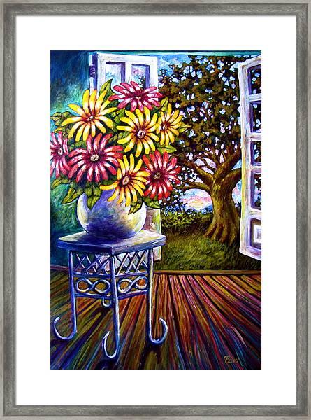 Sunflowers And The Oak Tree Framed Print