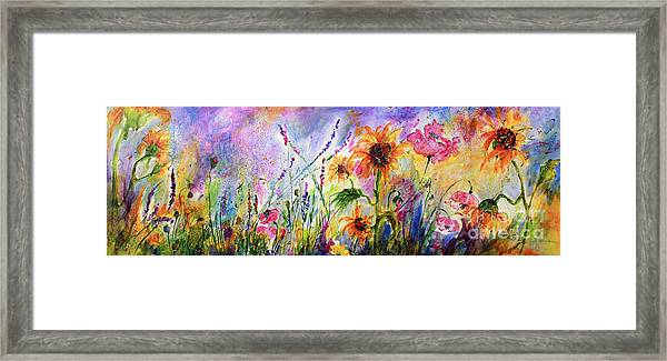 Sunflowers Bees Pink Poppies Wildflowers Framed Print