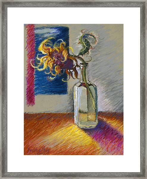 Sunflowers In A Bottle Framed Print