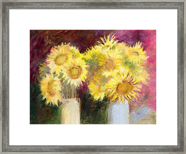Sunflowers In Jars Framed Print
