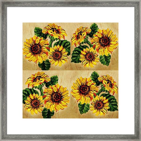 Sunflowers Pattern Country Field On Wooden Board Framed Print