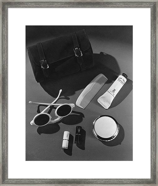 Sunglasses, Lipstick, And A Purse Framed Print by John Rawlings