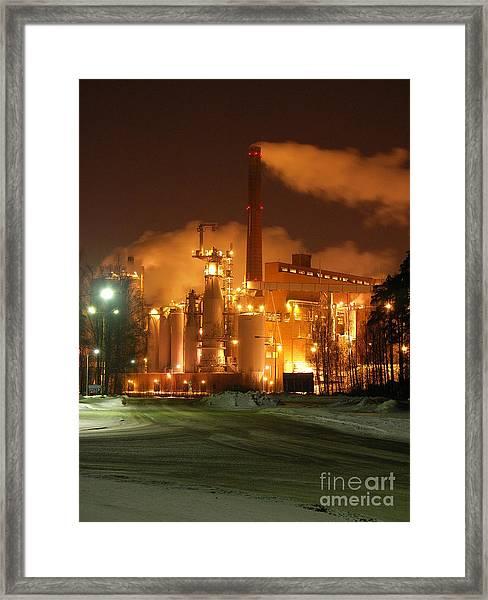 Sunila Pulp Mill By Winter Night Framed Print