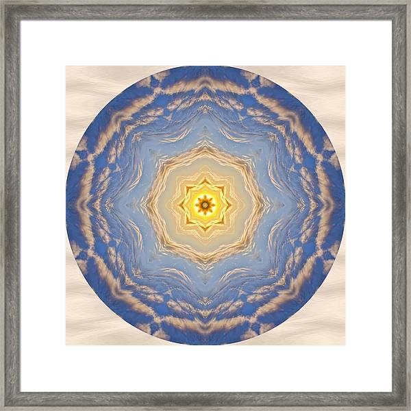 Framed Print featuring the photograph Sunlight Cloud Waves Mandala by Beth Sawickie