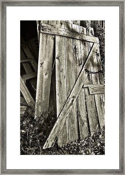 Sunlit Barn Door Framed Print by Greg Jackson