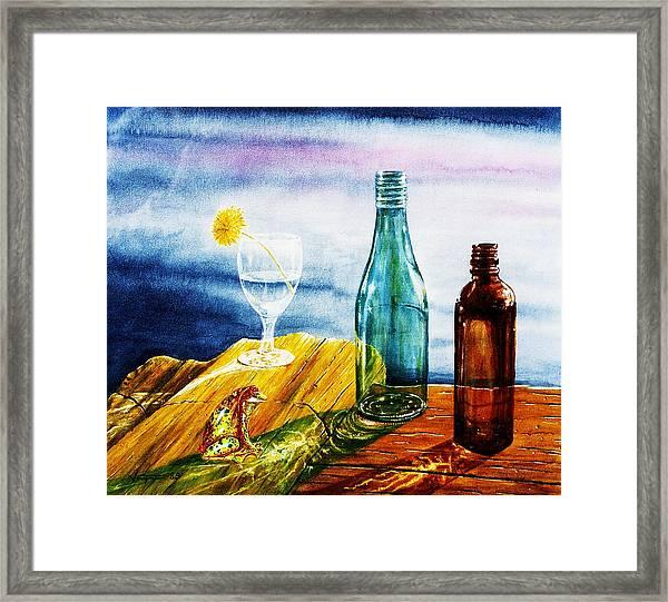 Sunlit Bottles Framed Print