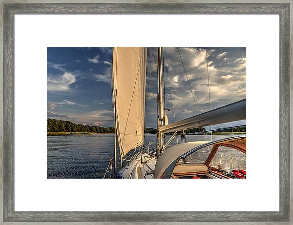 Sunny Afternoon Inland Sailing In Poland Framed Print