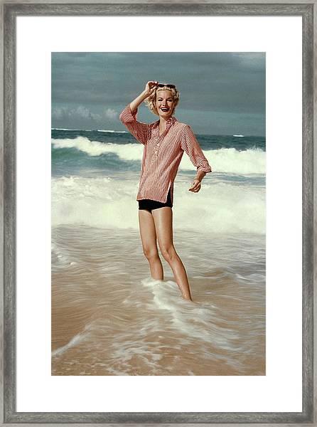 Sunny Harnett On A Beach Framed Print