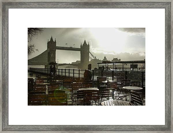 Sunny Rainstorm In London England Framed Print