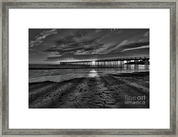 Sunrays Through The Pier In Black And White Framed Print