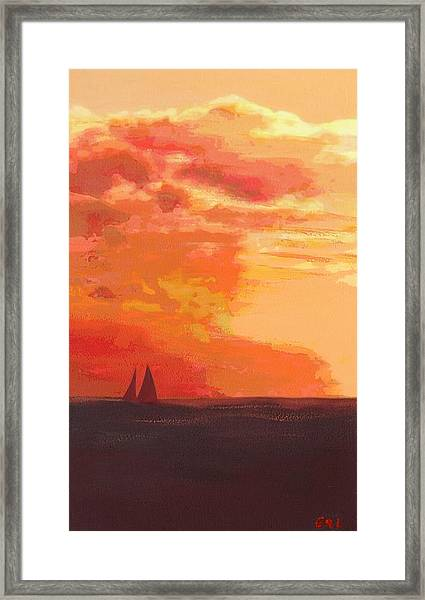 Framed Print featuring the painting Sunrise And Sails Emerald Isle North Carolina by G Linsenmayer