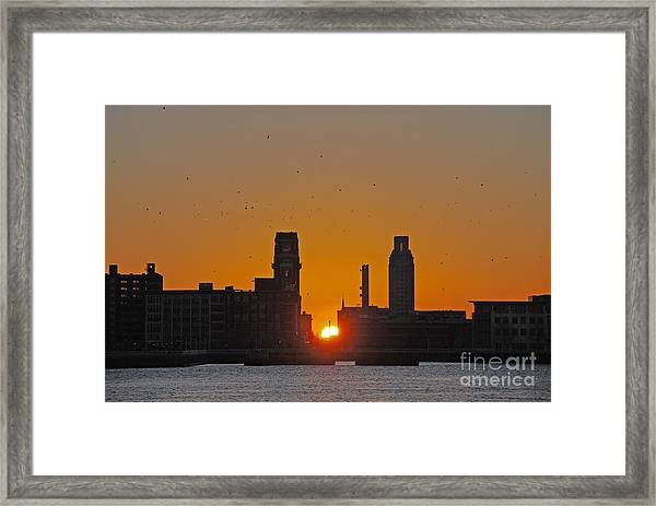 Sunrise And The City Framed Print