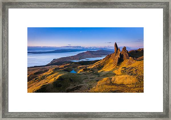 Sunrise And The Moon Over The Old Man Of Storr Framed Print by Maciej Markiewicz