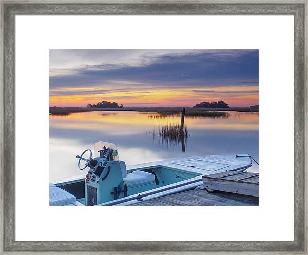 Sunrise Art Photograph - Hells Bay Marquesa Boat By Jo Ann Tomaselli Framed Print