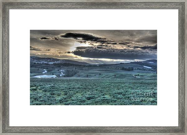 Sunrise At A Small Pond In Yellowstone Framed Print