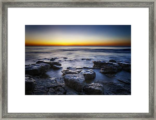 Sunrise At Cave Point Framed Print