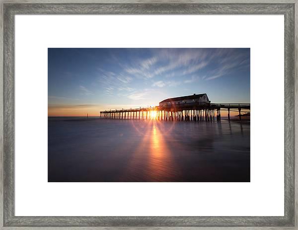 Sunrise At Kitty Hawk Pier Framed Print