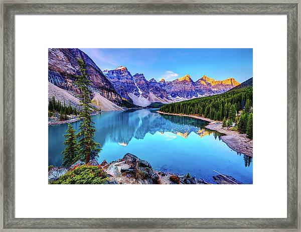 Sunrise At Moraine Lake Framed Print