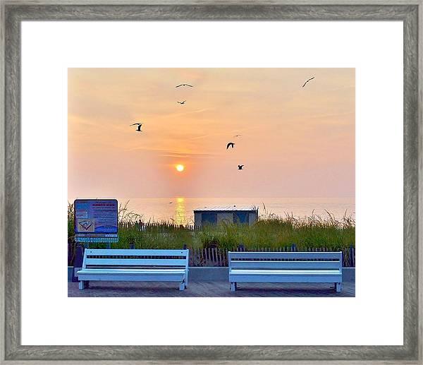 Sunrise At Rehoboth Beach Boardwalk Framed Print