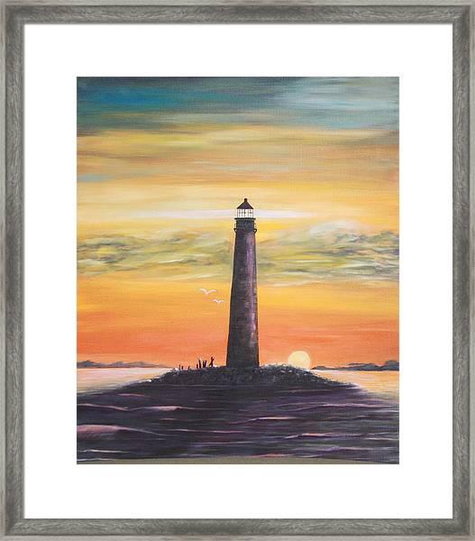 Sunrise At Sand Island Lighthouse Framed Print