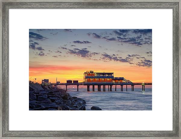 Sunrise At The Pier - Galveston Texas Gulf Coast Framed Print