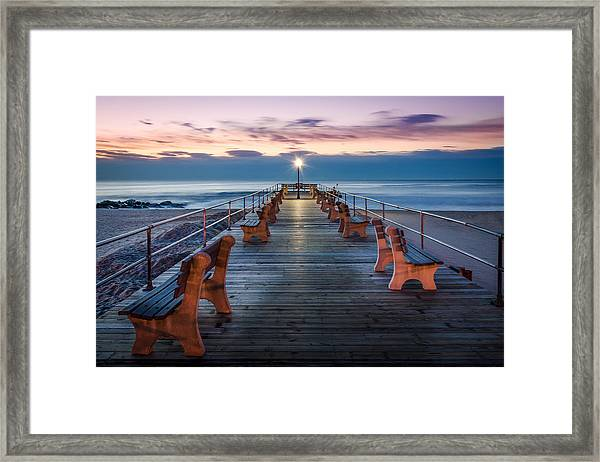 Framed Print featuring the photograph Sunrise At The Pier by Steve Stanger