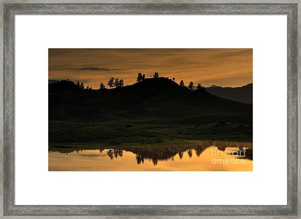 Sunrise Behind A Yellowstone Ridge Framed Print