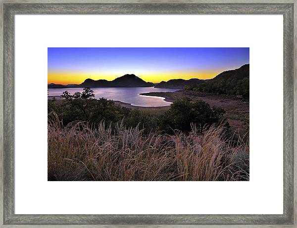 Sunrise Behind The Quartz Mountains - Oklahoma - Lake Altus Framed Print