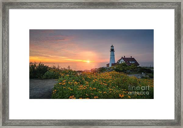 Sunrise Bliss At Portland Lighthouse Framed Print