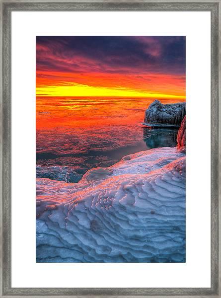 Sunrise Chicago Lake Michigan 1-30-14 Framed Print by Michael  Bennett