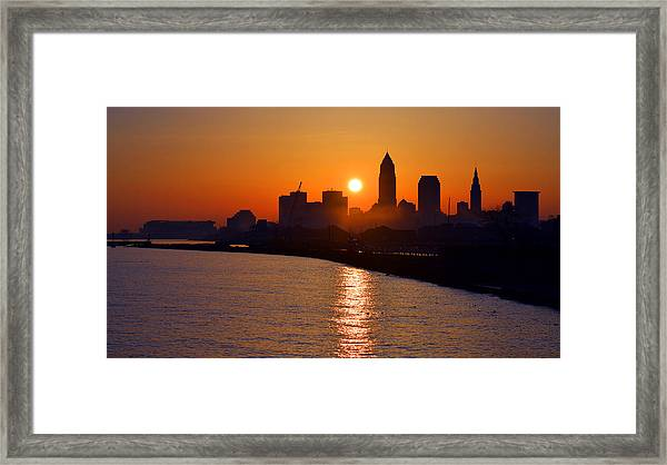 Sunrise In Cleveland Framed Print