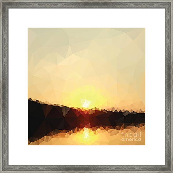 Sunrise Low Poly Effect Abstract Vector Framed Print by Vinko93