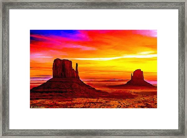 Sunrise Monument Valley Mittens Framed Print